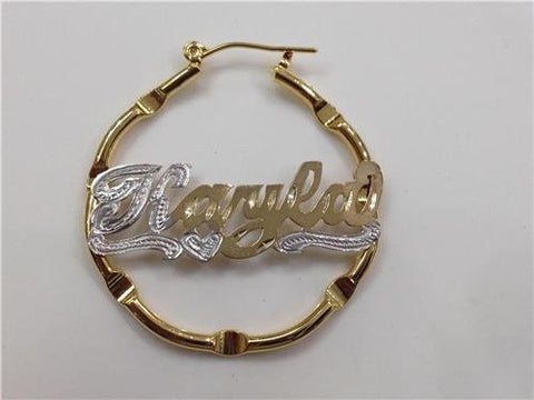 14k gold overlay 1 1/2 inch any name hoop earrings Personalized /g8 - myfamilystore
