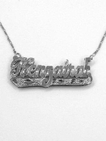 Personalized 925 Silver 3d Double Any Name Plate Necklace Chain/s1 - myfamilystore