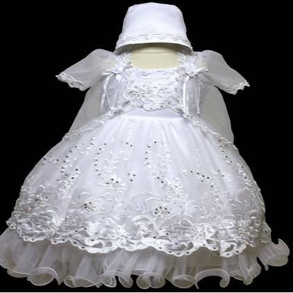 Baby Girl Toddler Christening Baptism Dress Gowns outfit set with bonnet /XS/S/M/L/XL/0-3M/3-6M/6-12M/12-18M/18-24M/XSMALL/SMALL/MEDIUM/LARGE/XL/2t/#5603 - myfamilystore