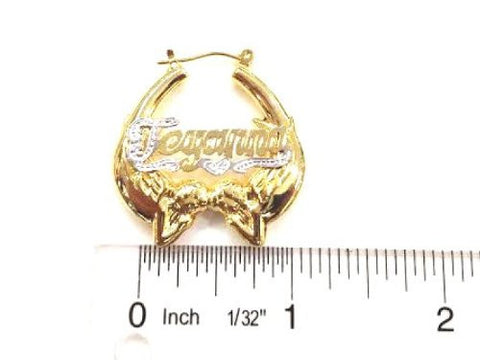 14k Gold Overlay 1 Inch Personalized Any Name Earrings Angel /H1 - myfamilystore