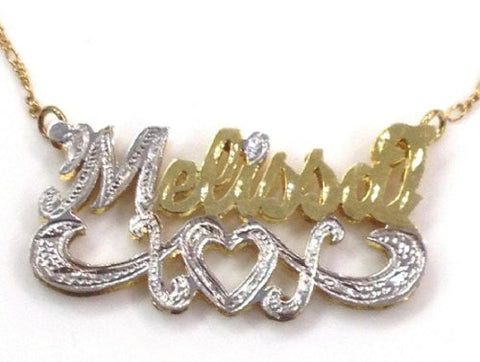 Personalized 14k Gold Overlay 3d Double Any Name Plate Necklace/z4 - myfamilystore