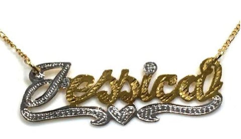 14k Gold Overlay Any Name Necklace Nameplate Personalized Gift Idea/heart - myfamilystore