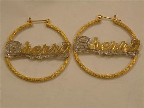 14k gold overlay 2 inch any name earrings Personalized /gifts birthday idea/a7 - myfamilystore