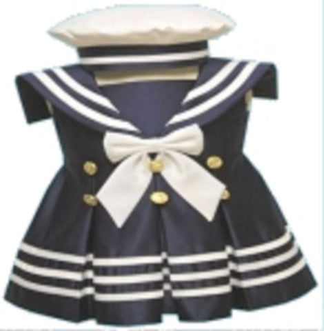 Baby-girls Flower Girl Christening Sailor Dress outfit Sizes S-xl /42blue - myfamilystore