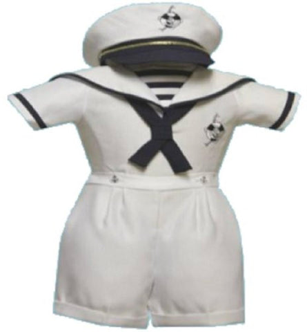 Toddler Baby Boy Tuxedo suit Sailor captain Christening Baptism wedding/S/M/L/XL/2T/3T/4T/#2046 white - myfamilystore