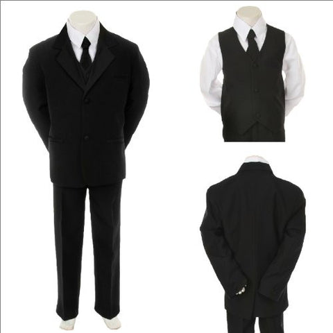 Toddler Baby Boy Black Tie Tuxedo Suit Wedding Size M / Mediumm /6-12 Months - myfamilystore