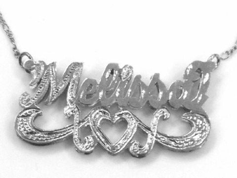 PERSONALIZED silver 925 Double Any Name Plate necklace/gift /f4 - myfamilystore