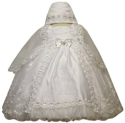Baby Girl Toddler Christening Baptism Dress Gowns outfit set with bonnet /XS/S/M/L/XL/0-3M/3-6M/6-12M/12-18M/18-24M/XSMALL/SMALL/MEDIUM/LARGE/XL/2t/#5443 - myfamilystore