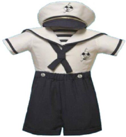 Baby Boy Christening Sailor Dress Outfit Sizes Xs-s-m-l-xl /#2046 Navy - myfamilystore