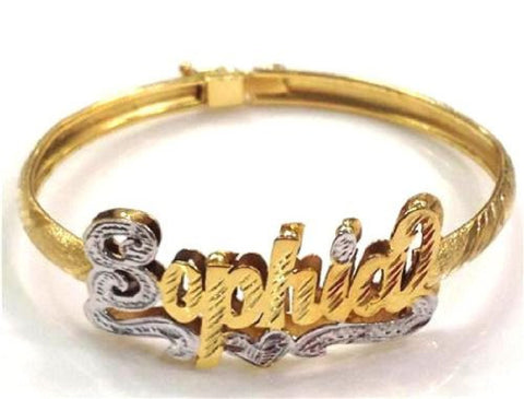 14k Gold Overlay Any 3d Name Bracelet Bangle Personalized - myfamilystore