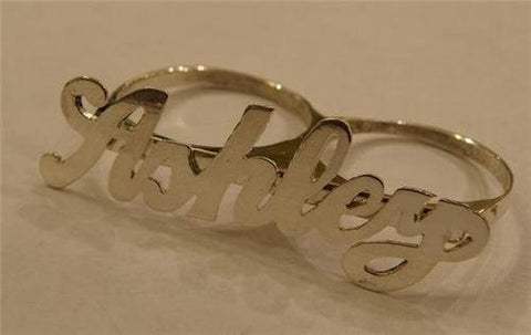 PERSONALIZED SILVER any name 2 finger RING/two finger name ring/Gift/a1 - myfamilystore