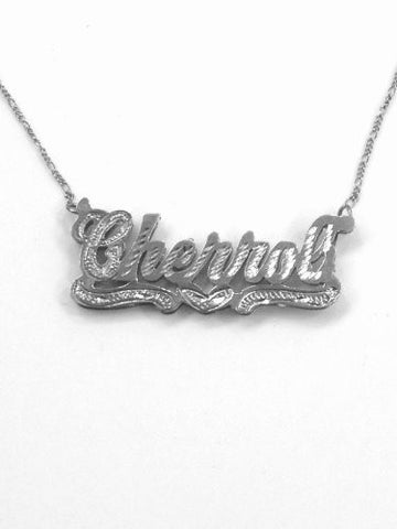 Personalized 925 Silver 3d Double Any Name Plate Necklace Chain/s2 - myfamilystore