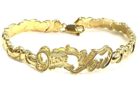 14k Gold Overlay Bracelet No Personalized/xoxo I Love YOU - myfamilystore