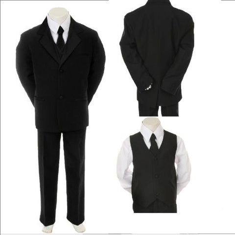 Toddler Baby Boy Black Tie Tuxedo Suit Christening Wedding Size Medium /6-12 Months - myfamilystore