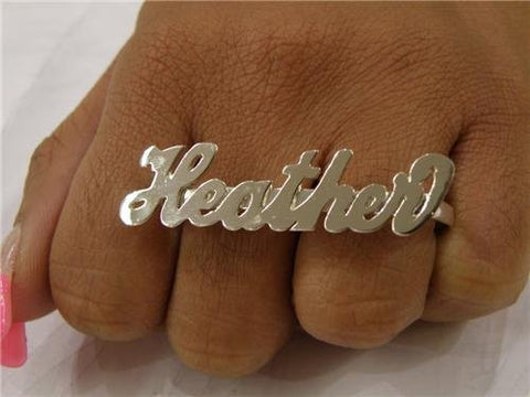 PERSONALIZED SILVER any name 2 finger RINGS/two finger name ring/Gift/a2 - myfamilystore