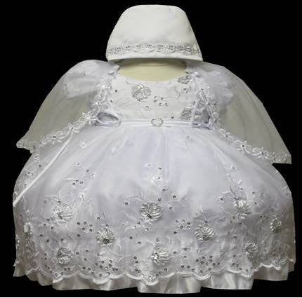 Baby Girl Toddler Christening Baptism Dress Gowns outfit set with bonnet /XS/S/M/L/XL/0-3M/3-6M/6-12M/12-18M/18-24M/XSMALL/SMALL/MEDIUM/LARGE/XL/2t/#5609 - myfamilystore