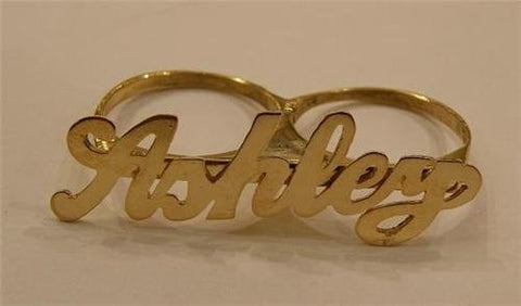Personalized 14k gold overlay any name 2 finger RING/two finger name ring/Gift/a1 - myfamilystore