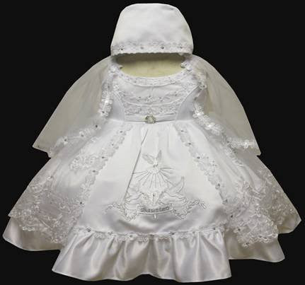 Baby Girl Christening Baptism Dress Gowns outfit set with bonnet /XS/S/M/L/XL/2t/#5610 - myfamilystore