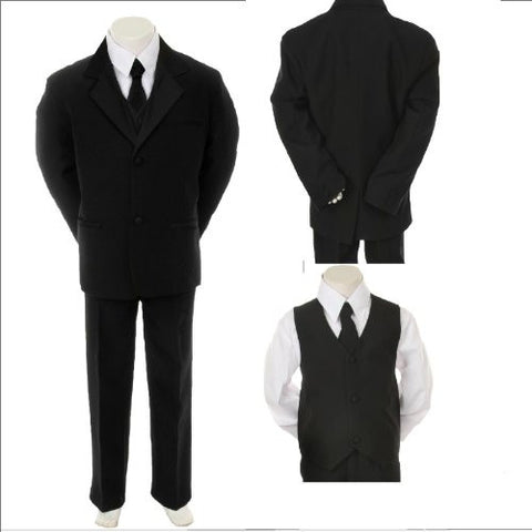 Toddler baby Boys Tuxedo Suit black with Tie size 2T,3T,4T - myfamilystore