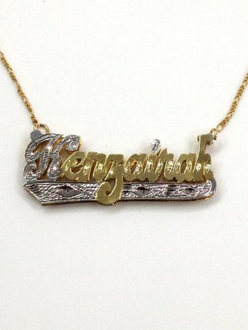 Personalized 14k gold overlay Double Any Name Plate necklace/gift /p1 - myfamilystore
