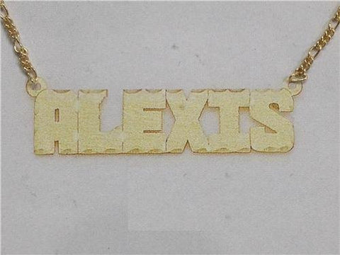 14K Gold Overlay ANY Name Necklace Name Plate Personalized + chain/gift idea/r14 - myfamilystore