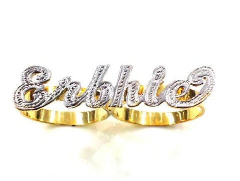 Personalized 14k Gold Overlay Any Name 2 Finger Ring/two Finger Name Ring/c1 - myfamilystore