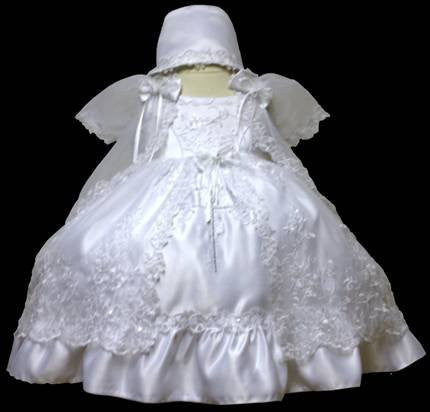 Baby Girl Toddler Christening Baptism Dress Gowns outfit set with bonnet /XS/S/M/L/XL/0-3M/3-6M/6-12M/12-18M/18-24M/XSMALL/SMALL/MEDIUM/LARGE/XL/2t/#5606 - myfamilystore