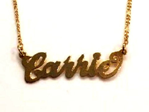 Any Personalized Name Necklace 18k Gold Over Lay Custom Made Any Name - myfamilystore