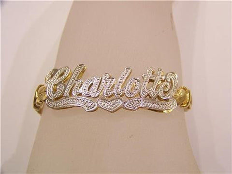 14K GP DOUBLE Name Bracelet name Plate personalized xoxo/z1 - myfamilystore