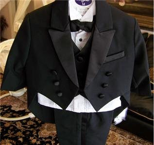 Toddler Baby Boy BLACK Tuxedo tail suit Christening Baptism wedding 2t/3t/4t - myfamilystore