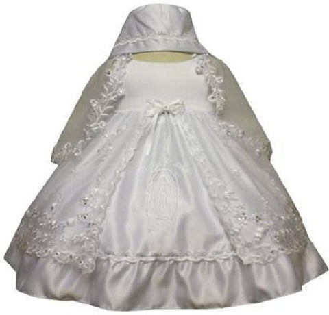 Baby Girl Christening Dress Gowns Outfit Bonnet Size /small/medium/large/xl/2t/#5442 - myfamilystore