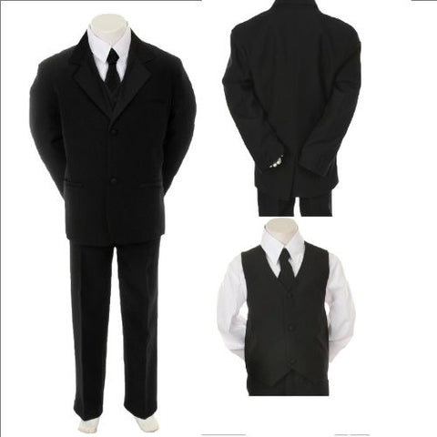 Toddler Baby Boy Black Tie Tuxedo Suit Christening Baptism Wedding Size 4t - myfamilystore