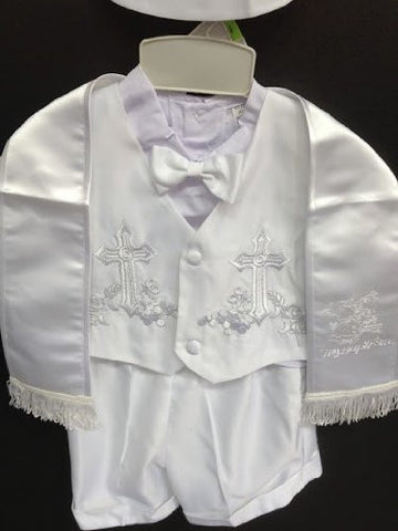 Baby Boy toddler Christening Baptism white outfit with rope /XS/S/M/L/XL/0-3M/3-6M/6-12M/12-18M/18-24M/XSMALL/SMALL/MEDIUM/LARGE/X LARGE/a1 - myfamilystore