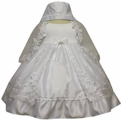 Baby Girl Christening Baptism Dress Gowns outfit set with bonnet /XS/S/M/L/XL/2T#5442 - myfamilystore