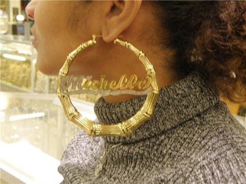 "14k gold overlay 4""  Bamboo Name Earrings Personalized - myfamilystore"