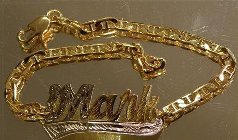 Personalized 14K gold overly any Name id Bracelet /GIFT/ letter/b - myfamilystore
