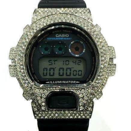 Casio G-shock Custom 3 Ct Stone Cz diamond 300 Pcs Mens Watch Dw6900 /f - myfamilystore