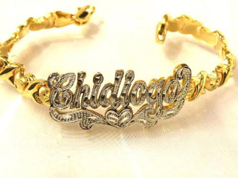 14k Gold Overlay Any 3d Name Bracelet Nameplate Personalized/xoxo - myfamilystore