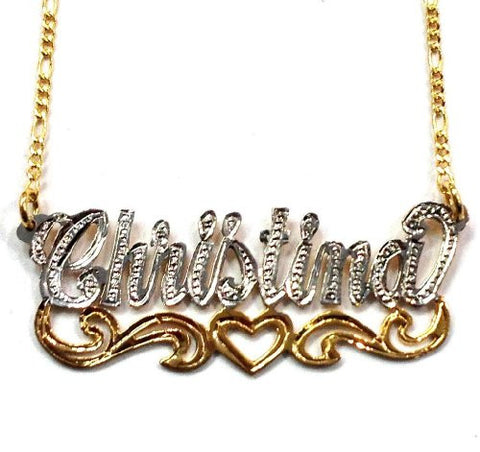 Personalized Name Necklace 14k Gold Overlay Any Name Plate /Name1 - myfamilystore