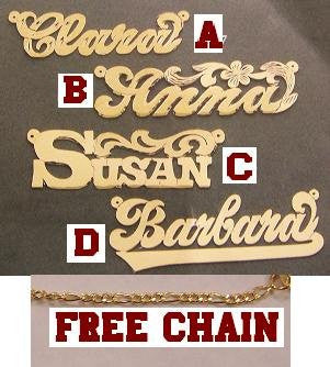 14K Gold Overlay ANY Name Necklace Name Plate Personalized + chain/gift idea/r12 - myfamilystore