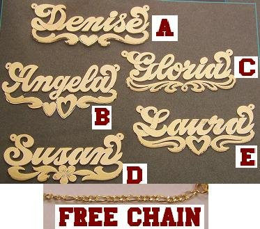 14K Gold Overlay ANY Name Necklace Name Plate Personalized + chain/gift idea/r13 - myfamilystore