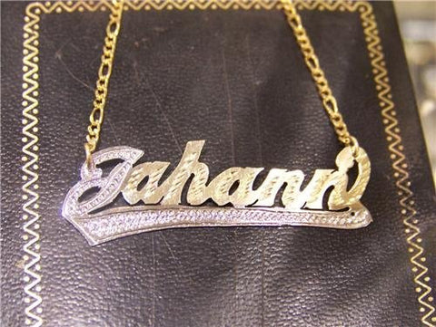 14K Gold Overlay ANY Name Necklace Name Plate Personalized + chain/gift idea/r8 - myfamilystore
