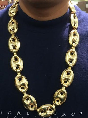 Yellow Gold Finish puffy gucci Necklace Chain 30 inch 25mm bling bling - myfamilystore