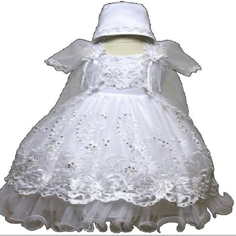 Baby-girls White Flower Girl Christening Baptism Dress Sizes S to 2t /5603 - myfamilystore