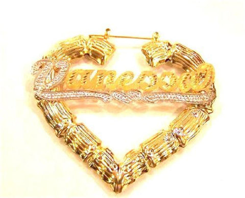 14k Gold Overlay 3 Inch Personalized Any Name Bamboo Earrings Heart - myfamilystore