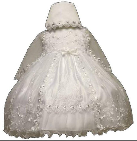 Baby-girls White Flower Girl Christening Baptism Dress Sizes S to 2t /5608 - myfamilystore