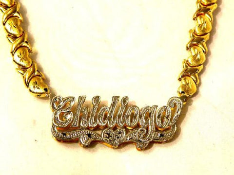 14k Gold Overlay Any 3d Name Necklace Nameplate Personalized/xoxo Chain - myfamilystore