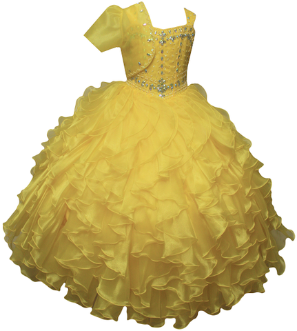 Girl Teen Formal National Pageant Wedding Dance Party Graduation Wedding Flower Dress size 4-6-8-10-12-14-16-18-20 /#557 yellow - myfamilystore