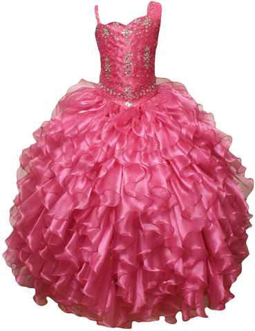 Girl Teen Formal National Pageant Wedding Dance Party Graduation Wedding Flower Dress size 4-6-8-10-12-14-16-18-20 /#597 fushia red - myfamilystore