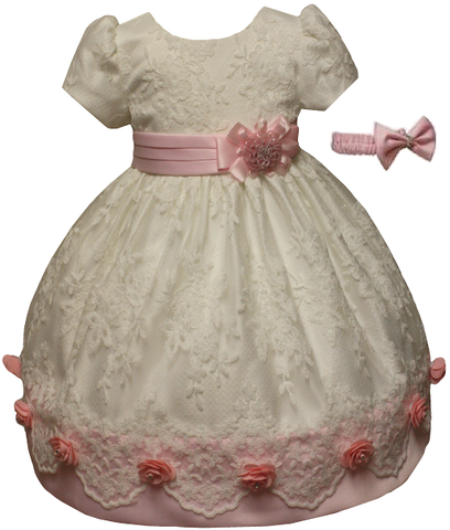 Baby Flower Girls Christening Baptism Gown Dress and headband size 6M-9M-12M-18M-24M-2T-3T-4T / 053 PINK - myfamilystore